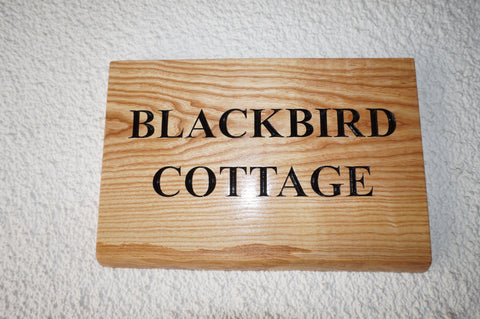 Solid Ash Live Edge House Name Sign (L 37cm : H 25cm : D 2.5cm.)