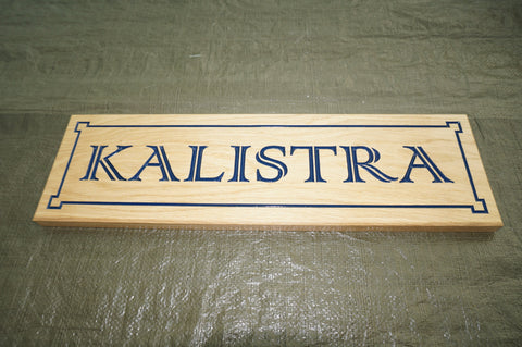 Solid Oak House Name Sign (L 62cm : H 18.2cm : D 2.5cm.)