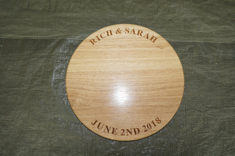 Solid Wood Engraved Cake / Cheese / Food Board (12 inch diameter)