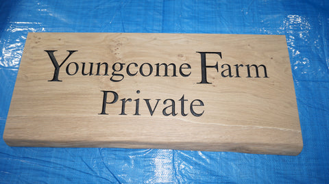 Solid Oak Live Edge House Name Sign (L 75cm : H 30cm : D 4.5cm.)