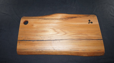 Elm Charcuterie Board. (Natural Edged with thumb hole.) 50cm x 25cm x 3cm