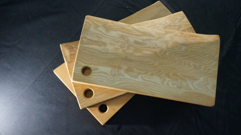 Ash Carving Board. (Natural Edged, with thumb hole.) 37cm x 25-30cm x D 4cm