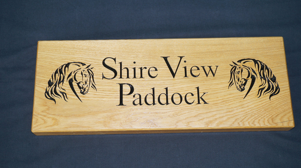Solid Oak House Name Sign (L 61cm : H 23cm : D 4.5cm.)