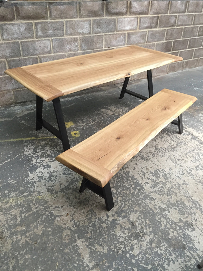 ROSS TABLE AND MARY BENCH Solid English Oak Dining Table and bench set, Natural edged.