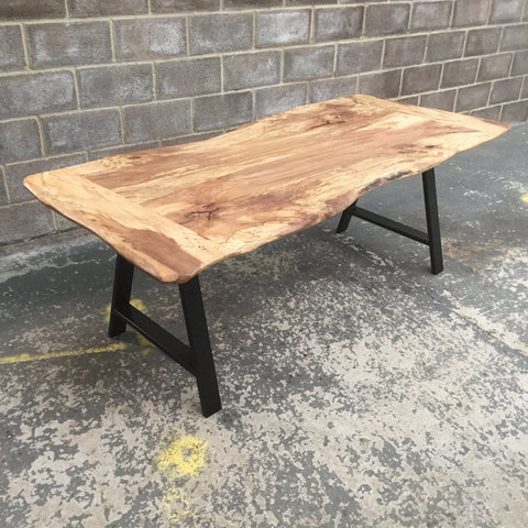 ADAM Solid English Spalted Beech Dining Table, Natural edged. 214x90cm