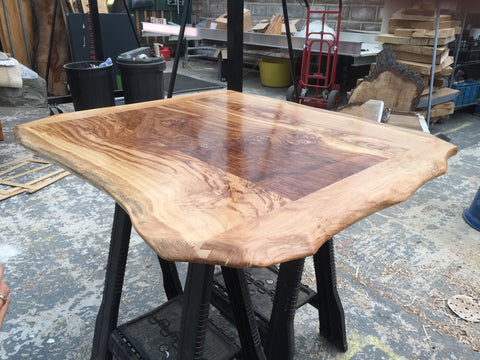 Solid English Oak Dining Table, Natural edged. 100x90cm