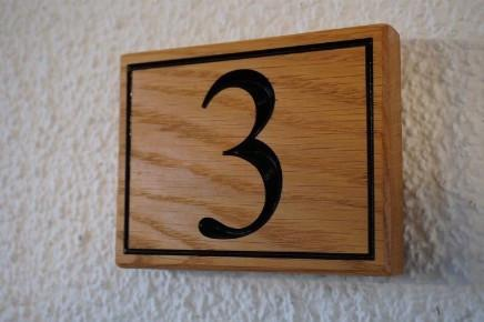 Solid oak Traditional House Number Sign, personalise & engrave, garage or building Hand crafted The Fine Wooden Article Company, Gloucestershire UK