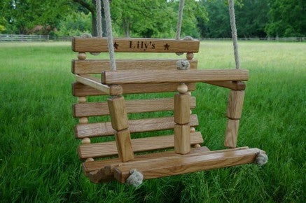 Toddler Safe Secure Stable Tree Bespoke Garden swing-seat English solid Oak, Personalise & Engrave, traditionally crafted, practical & finely designed with high quality robust rope-work in Gloucestershire, UK.