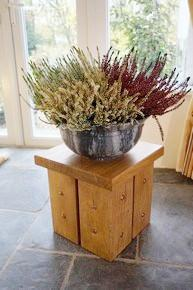 Short Solid Oak handcrafted Plant Stand, Occasional Table, Candle Stand. The Fine Wooden Article Company, Gloucestershire, Uk.