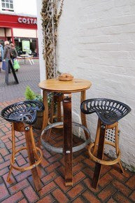 Café Table & Bar Stool set, from vintage genuine Oak Barrel & vintage Tractor Seat. The Fine Wooden Article Company Gloucestershire, Uk.