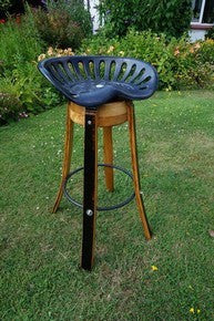 Bar stool design from vintage cast iron tractor seat & genuine French Oak wine barrels, for homes, restaurants. Handcrafted in our Gloucestershire workshop, UK. The Fine Wooden Article Company.