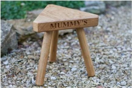 Mummy Medium Solid Oak Milking Stool Three Legs Engraved Personalise Handcrafted from Sustainably Sourced Wood. The Fine Wooden Article Company, Gloucestershire, UK.
