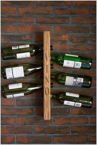 Engraved A 6 bottle wall-mounted wine rack handcrafted in our workshop from sustainably sourced solid Oak, Walnut, Wenge or Bamboo for home & commercial interiors. UK.
