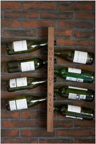 Engraved An 8 bottle wall-mounted wine rack handcrafted in our workshop from sustainably sourced solid Oak, Walnut, Wenge or Bamboo for home & commercial interiors. UK. The Fine Wooden Article Company.