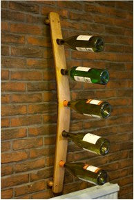 A 5 bottle wall-mounted wine rack designed from a vintage Oak barrel stave for home & commercial interiors, handcrafted in our Gloucestershire workshop, UK.