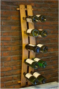 Double Oak Stave 10 Bottle Wine Bottle Rack Hand crafted from reclaimed vintage wine oak barrels by The Fine Wooden Article Company, UK.