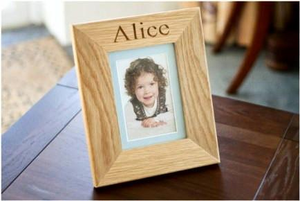 6 x 4 engraved Solid Oak picture frames come with a mount, stand, glass & wall hanging fixings, English wood handcrafted  in our Gloucestershire workshop, UK.