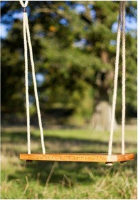 Child Bespoke Garden Tree swing-seat English solid Oak, Personalise & Engrave, traditionally crafted, practical & finely designed with high quality robust rope-work in Gloucestershire, UK.