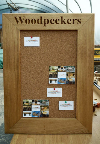 An elegant & durable Solid Oak frame Corkboard for use in a kitchen, study or office. Handcrafted & beautifully finished in our Gloucestershire workshop, UK. The Fine Wooden Article Company.