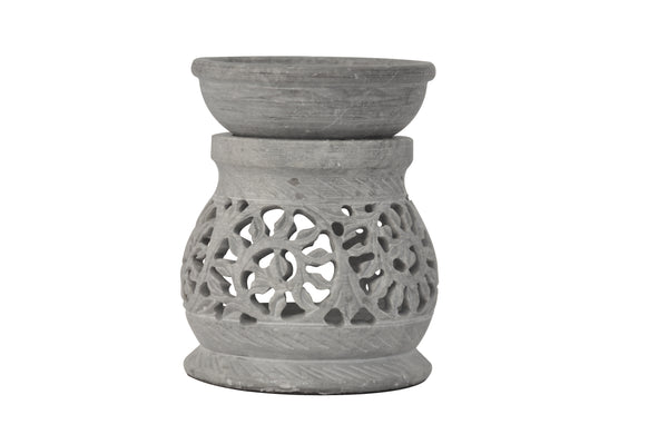 SmartHUG TeaLight Holder Aromatherapy Essential Oil Burner Soapstone Engraved Flower Set