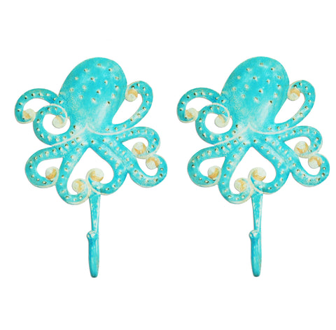SmartHUG Iron Octopus Design Hooks, Aqua Color, Set of 2