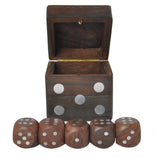 SmartHug Wooden Hand Designed Dice Set With 5 Dark Wood Dice