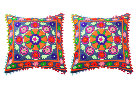 SmartHUG Handcrafted Suzani Embroidered Cushion Covers Tassel Lace Dark Grey Set of 2