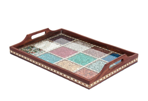 SmartHUG Wooden Handmade Gemstone Decorative Tray