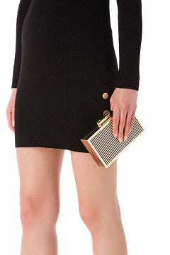 Clutch gold and stripes with chain