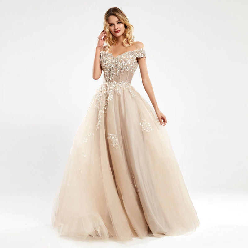 Charlotte Floral Off Shoulder Embroidered Prom Dress