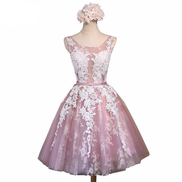 Pink Lace Flower Homecoming Dress