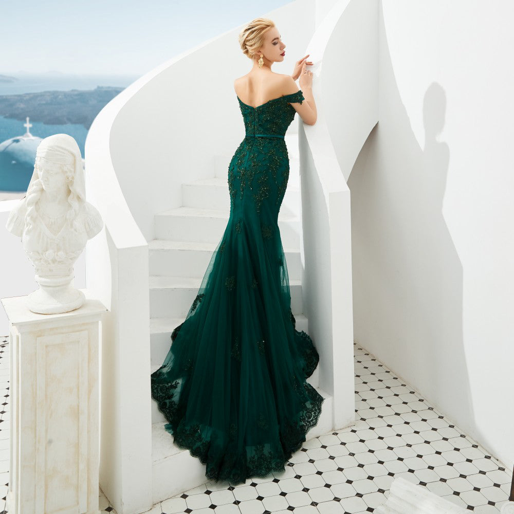Gianni Emerald Off Shoulder Embroidered Prom Dress