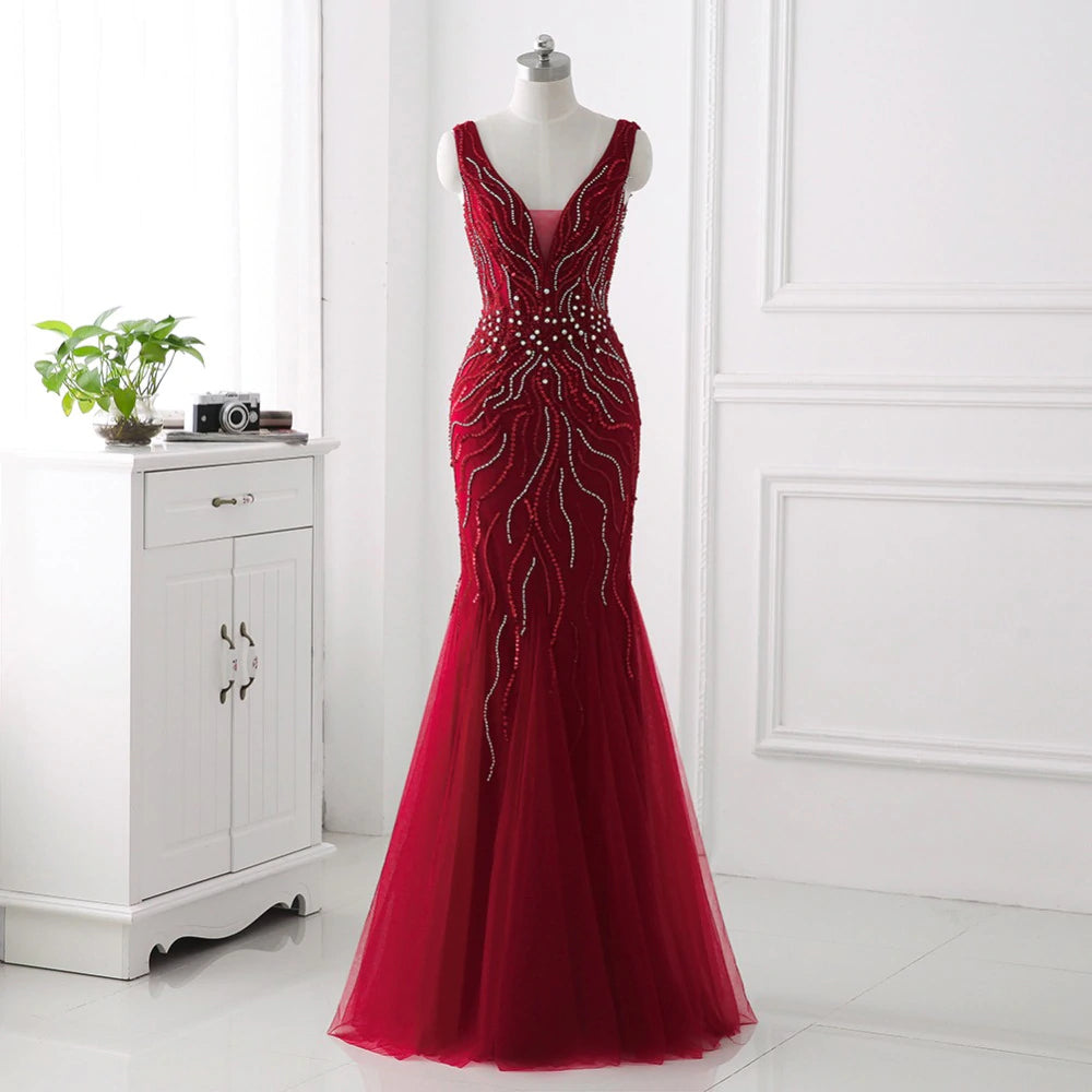 Backless Mermaid Bead Embroidered Prom Dress