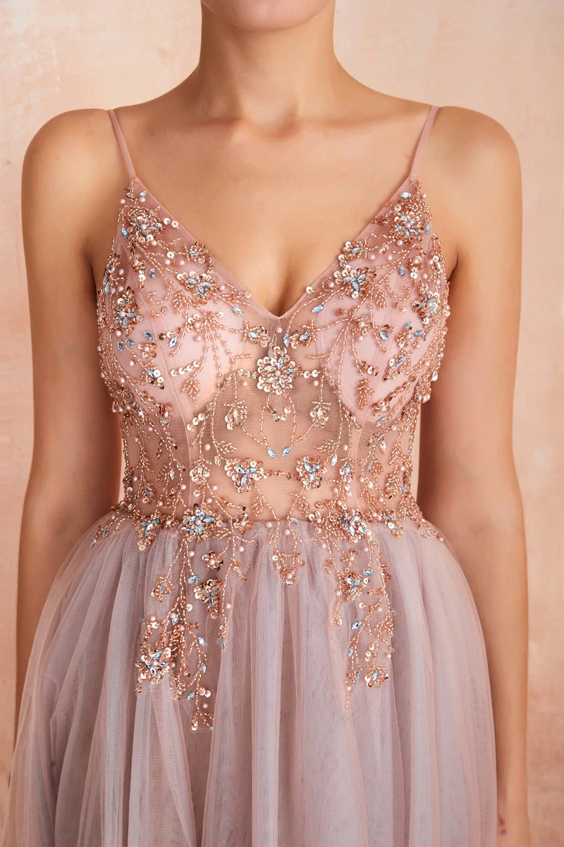 Aria Chiffon Strappy Embellished Prom Dress