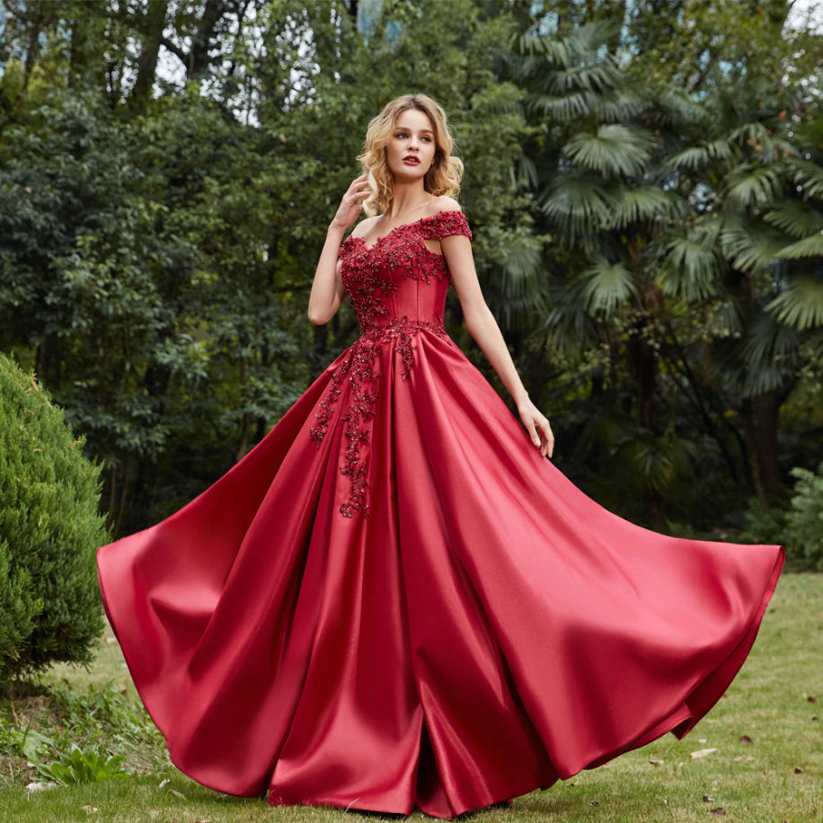 Maja Off Shoulder Satin Prom Dress