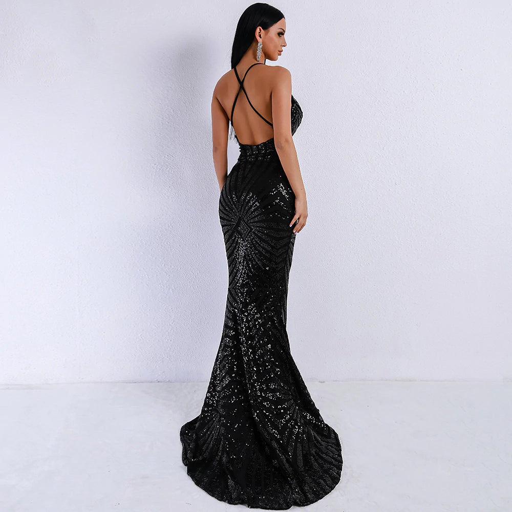 Black Sequined Crossover Maxi Dress