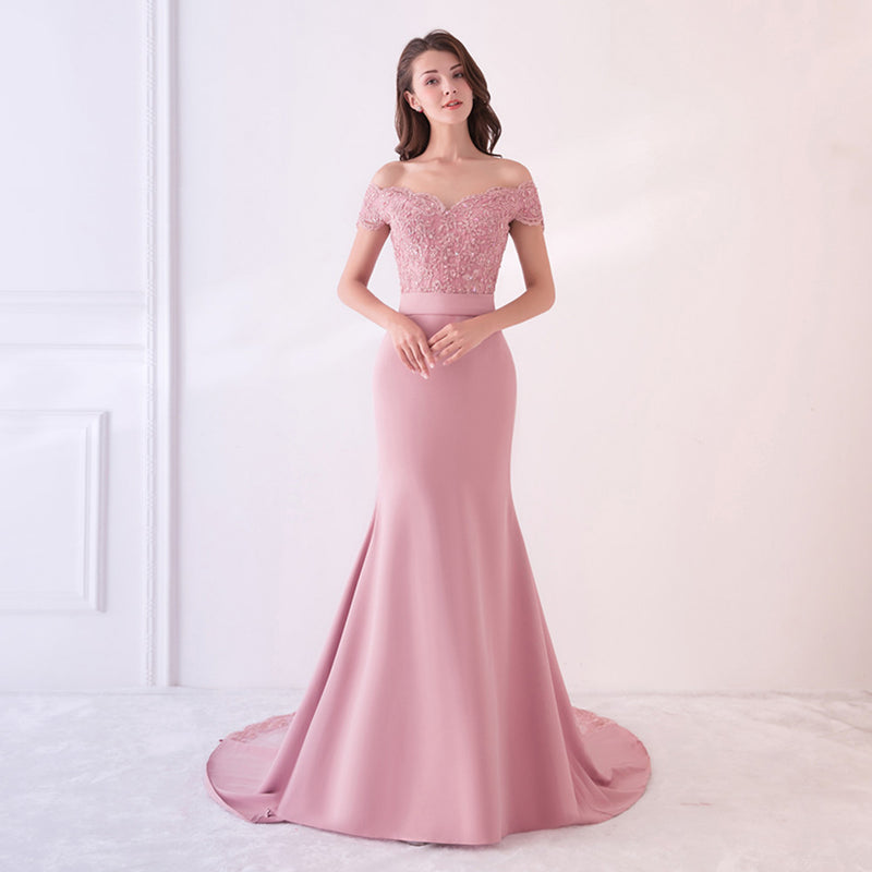 High Lace Slit Mermaid Bridesmaid Dress