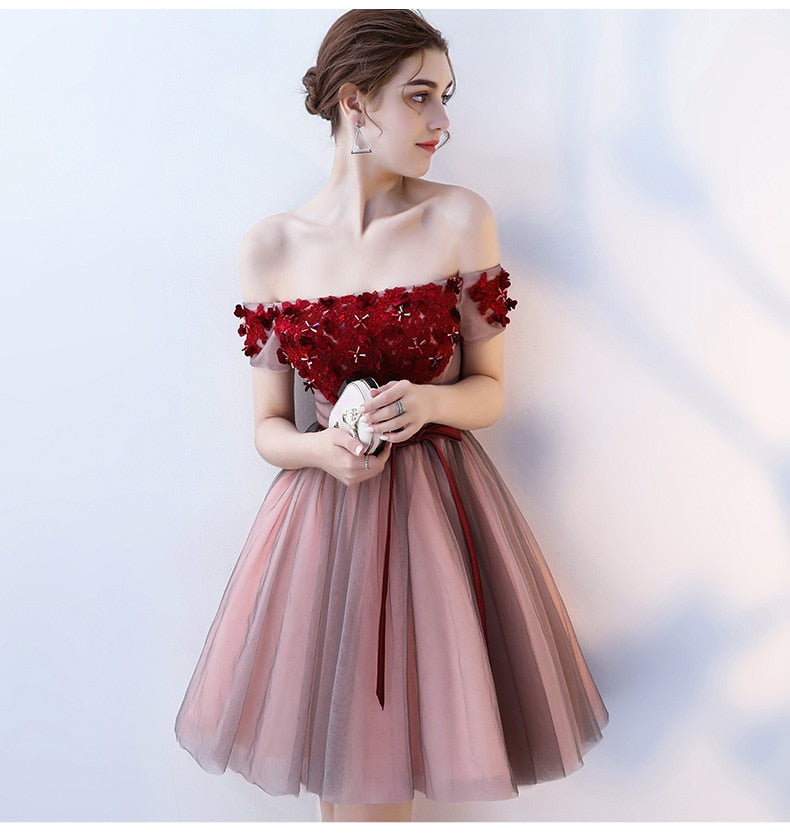 Rose Off Shoulder Homecoming Dress