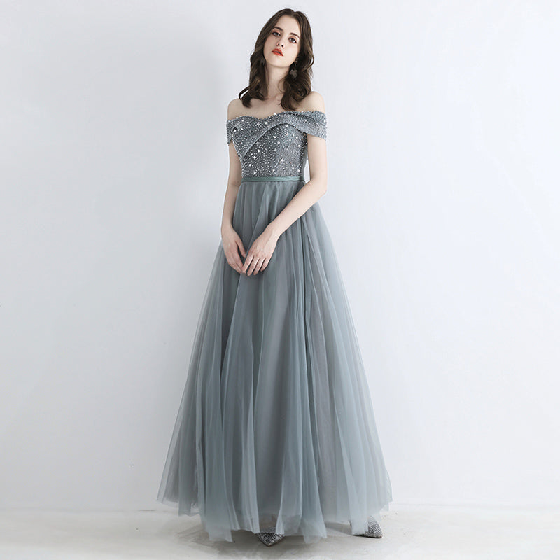 Carolina Off Shoulder Glitter Embellished Prom Dress