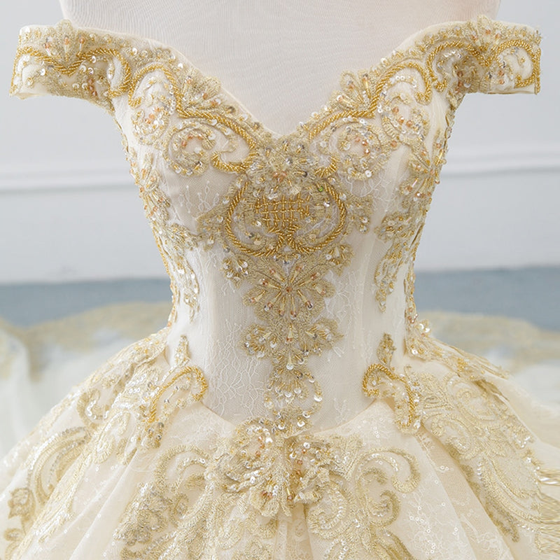 Alexis Off Shoulder Golden Embroidered Wedding Dress
