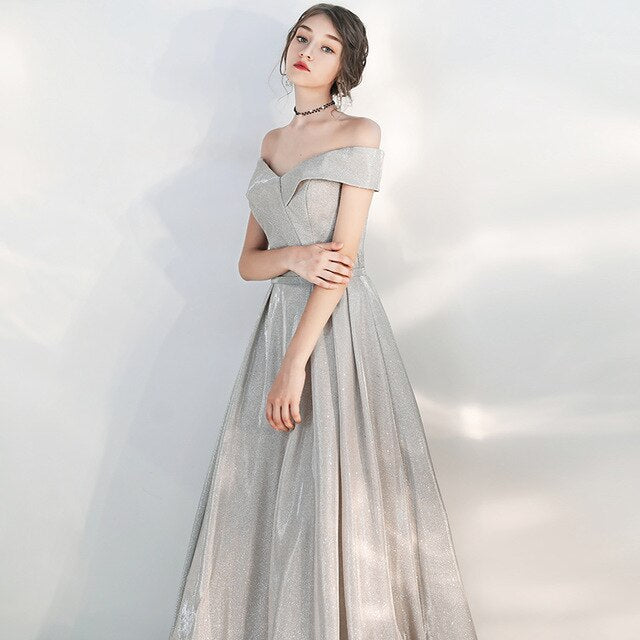Emile Glitter Off Shoulder Prom Dress