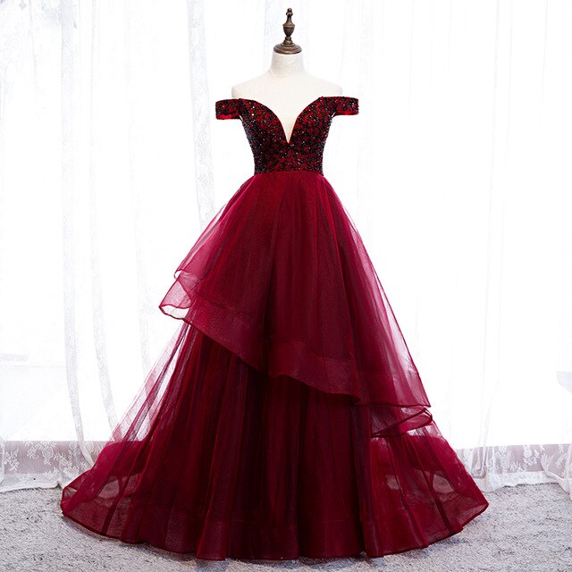 Adalene Off Shoulder A Symmetrical Prom Dress