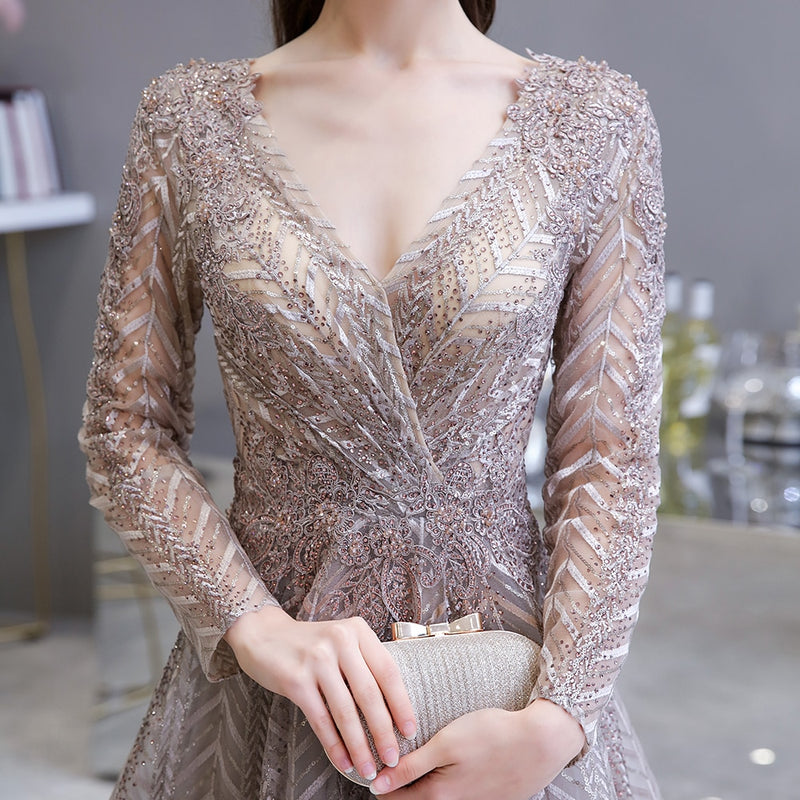 Rosana Long Sleeved Crystal Embellished Prom Dress