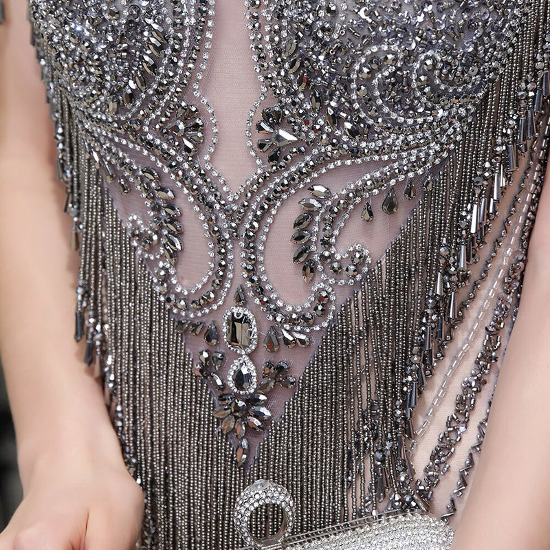 Naima Luxurious Beaded Tassel Prom Dress