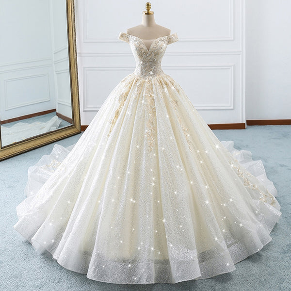 Lilli Off Shoulder Glitter Embellished Wedding Dress