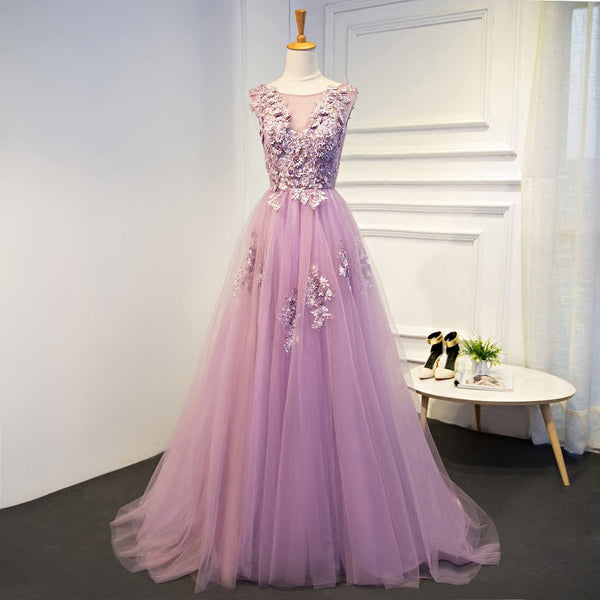 Deluxe Floral Tulle Prom Dress