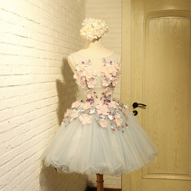 Flower Embroidered A Line Homecoming Dress