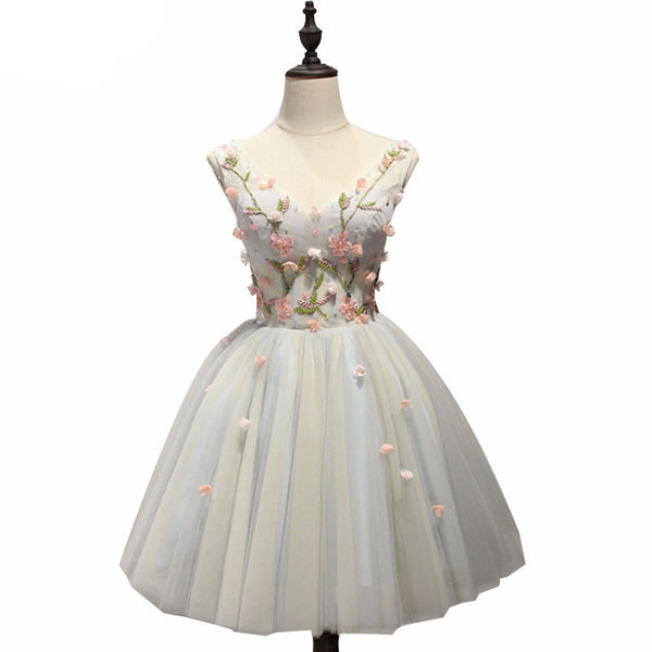 Lace Flower A-line Homecoming Dress
