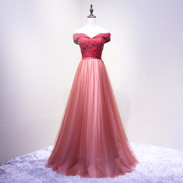 Rose Off Shoulder Prom Dress