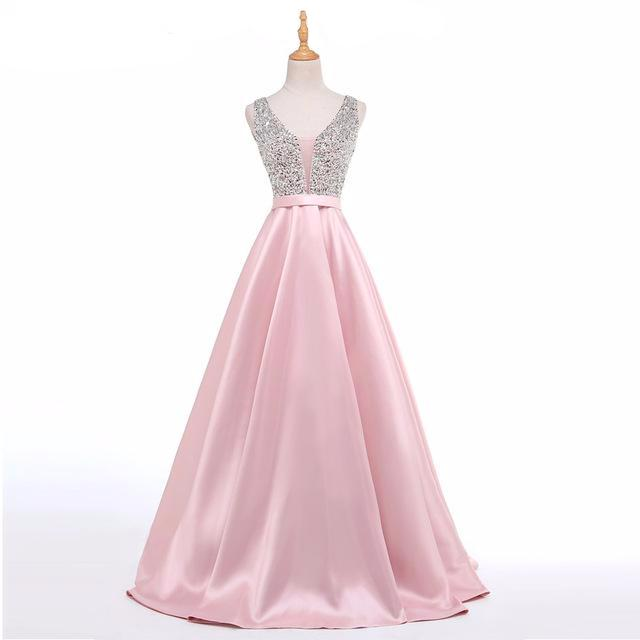 Crystal Embellished Satin Bridesmaid Dress
